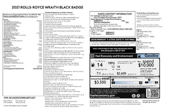 New 2021 Rolls-Royce Wraith Black Badge for sale Call for price at Alfa Romeo of Westport in Westport CT 06880 9