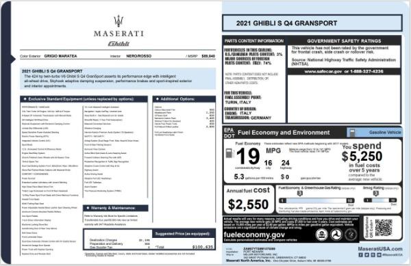 New 2021 Maserati Ghibli S Q4 GranSport for sale $100,635 at Alfa Romeo of Westport in Westport CT 06880 20