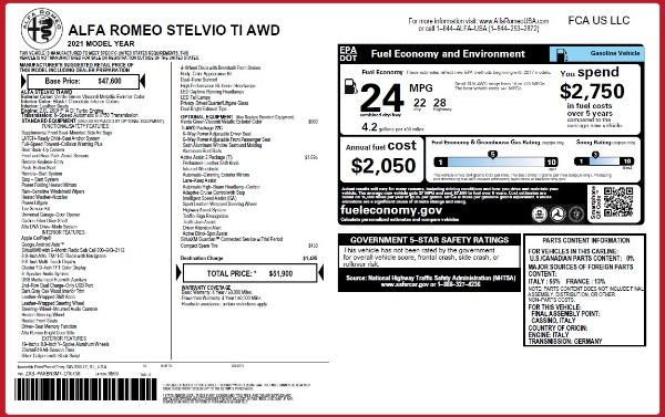 New 2021 Alfa Romeo Stelvio Ti Q4 for sale $51,900 at Alfa Romeo of Westport in Westport CT 06880 2