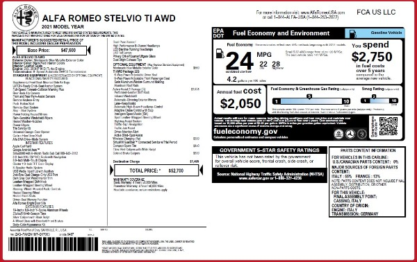 New 2021 Alfa Romeo Stelvio Ti Q4 for sale $52,700 at Alfa Romeo of Westport in Westport CT 06880 2