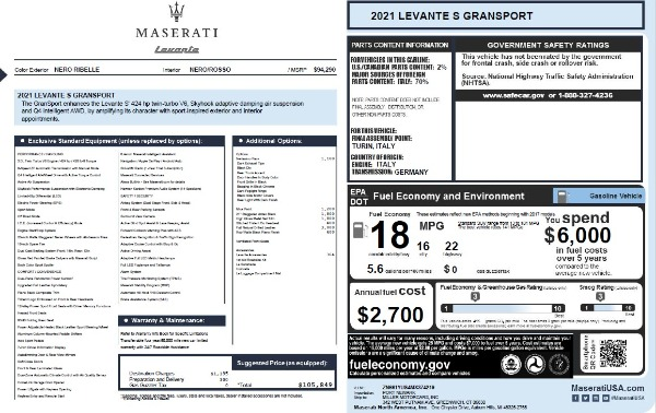 New 2021 Maserati Levante S Q4 GranSport for sale Sold at Alfa Romeo of Westport in Westport CT 06880 2
