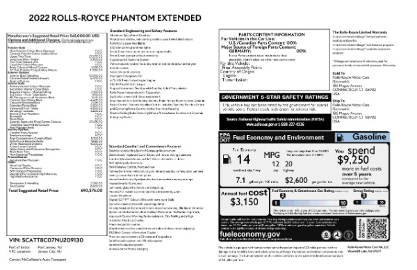 New 2022 Rolls-Royce Phantom EWB for sale Call for price at Alfa Romeo of Westport in Westport CT 06880 9