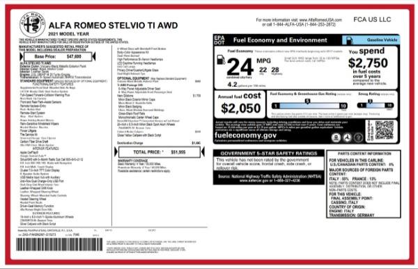 New 2021 Alfa Romeo Stelvio Ti for sale $51,955 at Alfa Romeo of Westport in Westport CT 06880 24