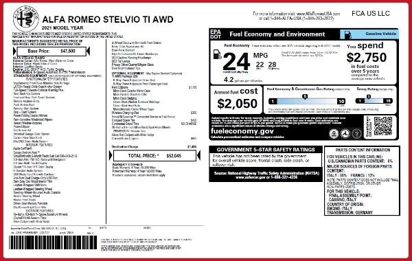 New 2021 Alfa Romeo Stelvio Ti Q4 for sale $52,045 at Alfa Romeo of Westport in Westport CT 06880 2