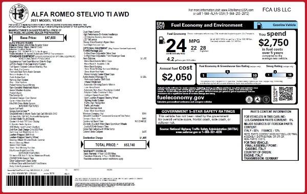 New 2021 Alfa Romeo Stelvio Ti Q4 for sale $53,740 at Alfa Romeo of Westport in Westport CT 06880 2