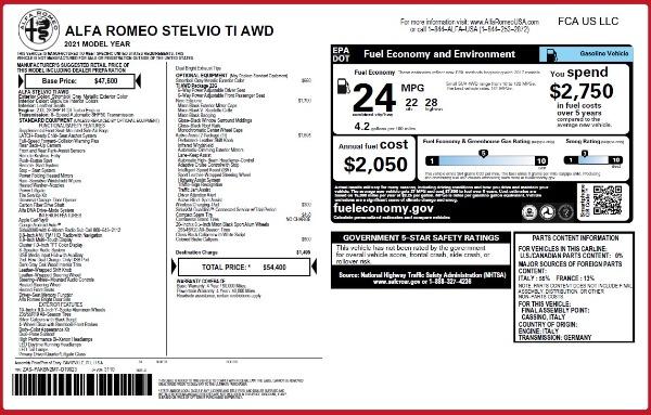 New 2021 Alfa Romeo Stelvio Ti Q4 for sale $54,400 at Alfa Romeo of Westport in Westport CT 06880 26