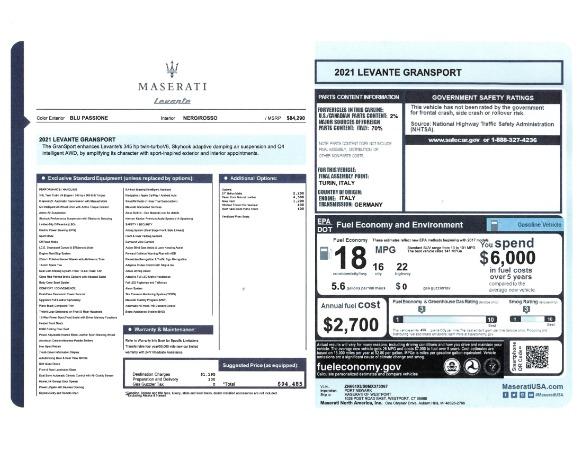 New 2021 Maserati Levante GranSport for sale Call for price at Alfa Romeo of Westport in Westport CT 06880 23