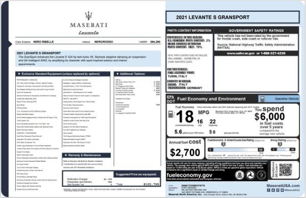 New 2021 Maserati Levante S GranSport for sale $105,799 at Alfa Romeo of Westport in Westport CT 06880 24