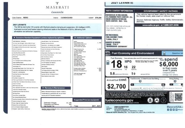 New 2021 Maserati Levante for sale $87,625 at Alfa Romeo of Westport in Westport CT 06880 2