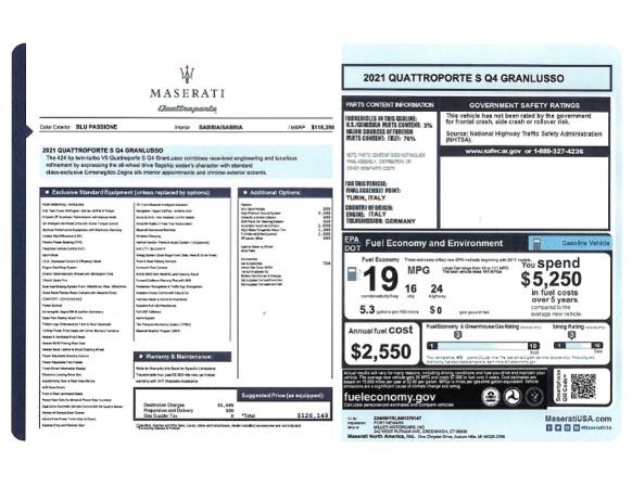 New 2021 Maserati Quattroporte S Q4 GranLusso for sale $126,149 at Alfa Romeo of Westport in Westport CT 06880 24