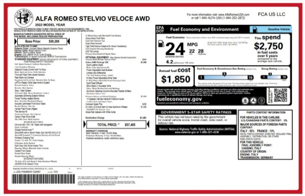 New 2022 Alfa Romeo Stelvio Veloce for sale $57,405 at Alfa Romeo of Westport in Westport CT 06880 25