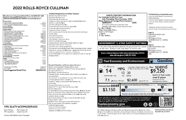 New 2022 Rolls-Royce Cullinan for sale Call for price at Alfa Romeo of Westport in Westport CT 06880 9