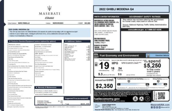 New 2022 Maserati Ghibli Modena Q4 for sale $103,855 at Alfa Romeo of Westport in Westport CT 06880 19