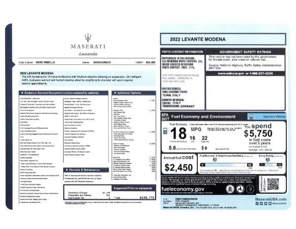 New 2022 Maserati Levante Modena for sale $108,775 at Alfa Romeo of Westport in Westport CT 06880 24