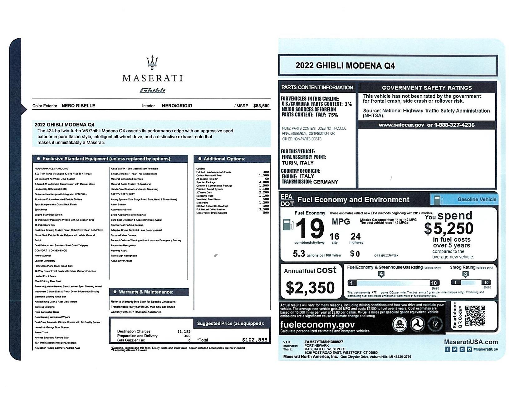 New 2022 Maserati Ghibli Modena Q4 for sale $102,855 at Alfa Romeo of Westport in Westport CT 06880 1