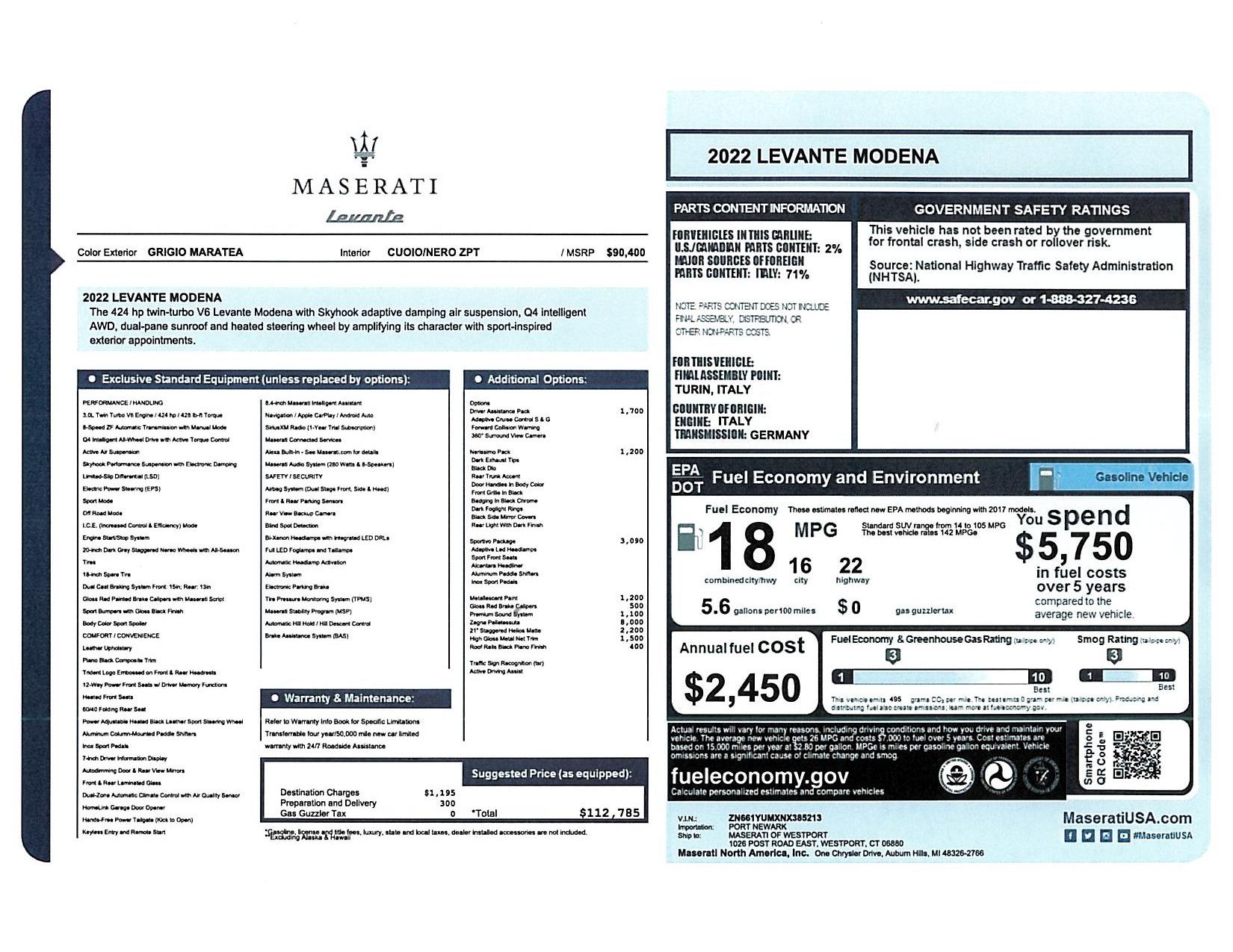 New 2022 Maserati Levante Modena for sale $112,785 at Alfa Romeo of Westport in Westport CT 06880 1
